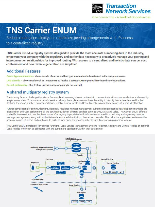 Carrier ENUM Information Sheet