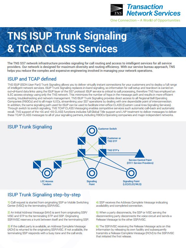 ISUP Trunk Signaling & TCAP CLASS Services Information Sheet