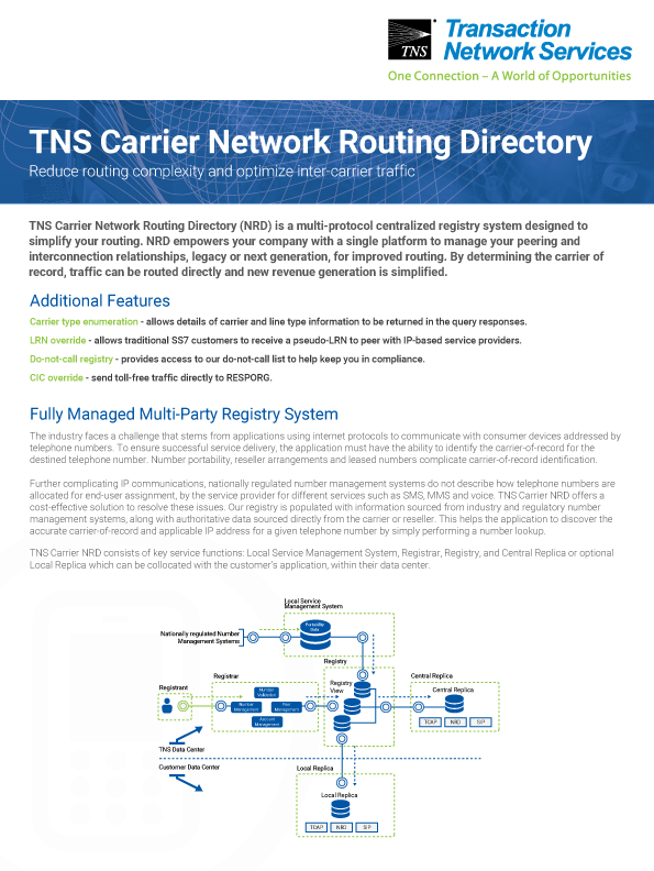 Carrier Network Routing Directory Information Sheet