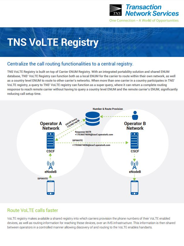 VoLTE Registry Information Sheet