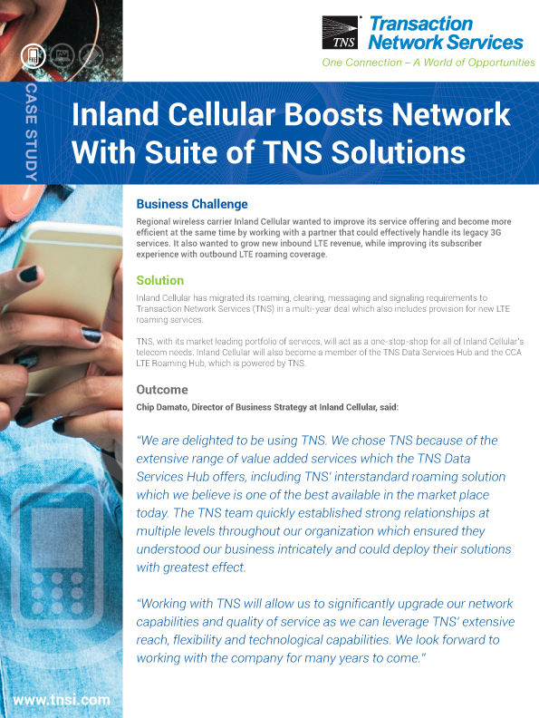 Inland Cellular Boosts Network  With Suite of TNS Solutions