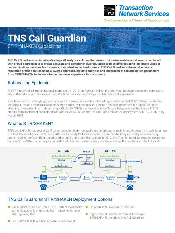 TNS Call Guardian STIR/SHAKEN Capabilities Information Sheet