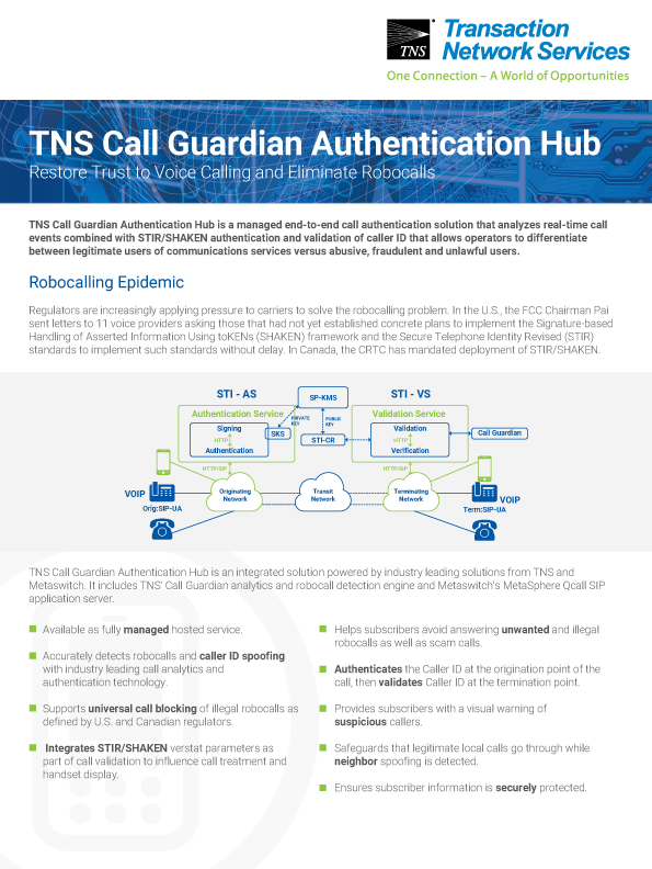 Call Guardian Authentication Hub Information Sheet