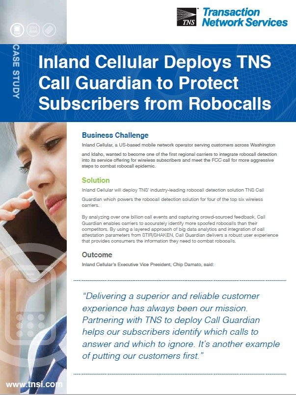 Inland Cellular Deploys TNS Call Guardian to Protect Subscribers from Robocalls