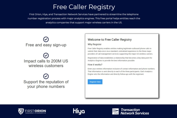 First Orion, Hiya, and TNS Launch New Caller Registry to Streamline Important Interactions between Callers and Analytics Engines